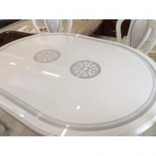 Стол овальный 182(236)*104*72,5 «Грета белое серебро»