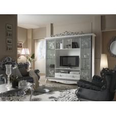 Гостинная «Стефани» Композиция №2 (двери/стекло) золото/серебро