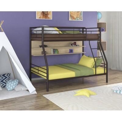 Двухъярусная кровать Гранада - 2П (черный, серый, бежевый, коричневый)
