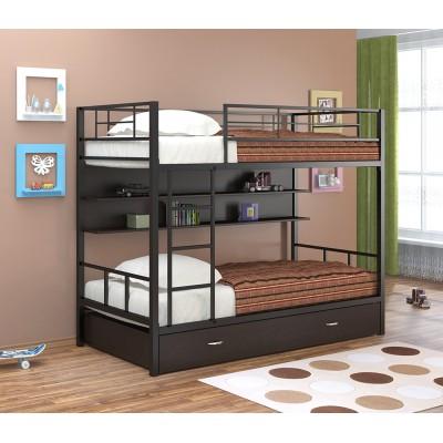 Двухъярусная кровать Севилья - 2 ПЯ (черный, серый, бежевый, коричневый)