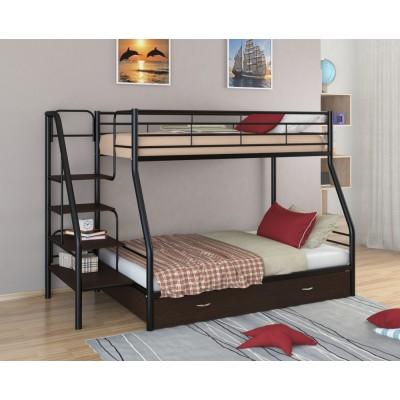 Двухъярусная кровать Толедо-1Я (черный, серый, бежевый, коричневый)