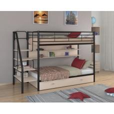 Двухъярусная кровать Толедо ПЯ (черный, серый, бежевый, коричневый)