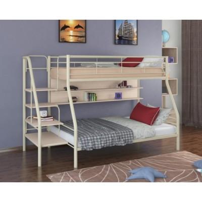 Двухъярусная кровать Толедо-1П (черный, серый, бежевый, коричневый)