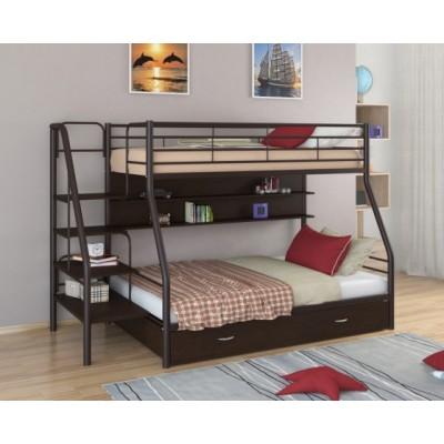 Двухъярусная кровать Толедо 1 ПЯ (черный, серый, бежевый, коричневый)