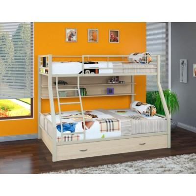 Двухъярусная кровать Гранада - 1 ПЯ (черный, серый, бежевый, коричневый)