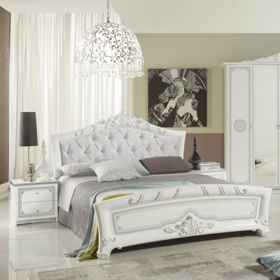"""Кровать с тканью """"Европа белое серебро"""""""